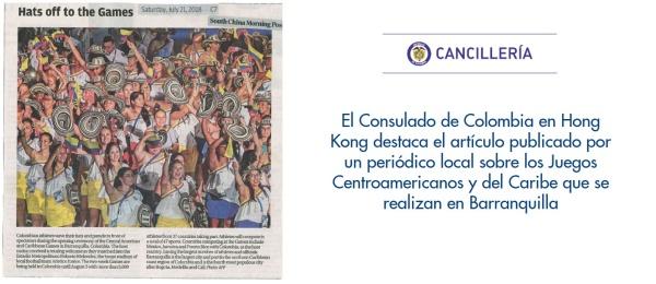 El Consulado de Colombia en Hong Kong destaca el artículo publicado por un periódico local sobre los Juegos Centroamericanos y del Caribe que se realizan en Barranquilla