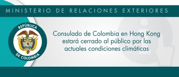 Consulado de Colombia en Hong Kong estará cerrado al público por las actuales condiciones climáticas