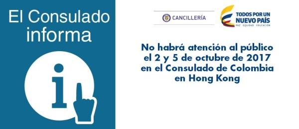 No habrá atención al público el 2 y 5 de octubre de 2017 en el Consulado de Colombia