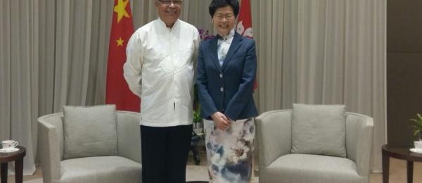 Encuentro del Cónsul de Colombia con la Jefa Ejecutiva de la Región Administrativa Especial de Hong Kong para diálogar sobre temas de interés
